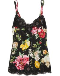 Dolce & Gabbana - Lace-trimmed Floral-print Silk-blend Satin Camisole - Lyst