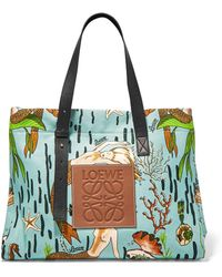 Loewe - Paula's Ibiza Leather-trimmed Printed Cotton-canvas Tote - Lyst