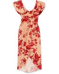 Johanna Ortiz - Ruffled Floral-print Broderie Anglaise Cotton Midi Dress - Lyst