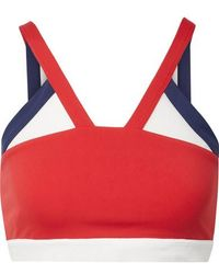 Perfect Moment Mesh-trimmed Stretch Sports Bra - Red
