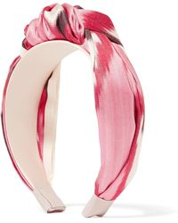 fad9b375ed361 Jennifer Behr - Ophelia Knotted Printed Cotton And Silk-blend Twill  Headband - Lyst