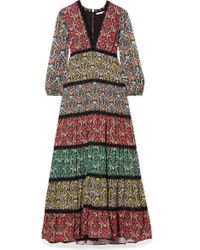Alice + Olivia Karolina Crochet-trimmed Printed Crepe And Plissé-chiffon Maxi Dress