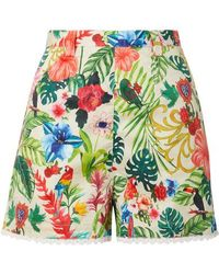Miguelina - Joone Crochet-trimmed Printed Cotton-voile Shorts - Lyst