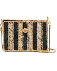 6de4abe1c05c2d Magnetic Midnight - Rayas Woven Palm Leaf And Gold-plated Shoulder Bag -  Lyst