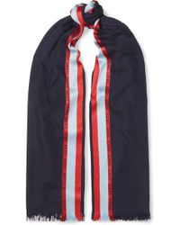 Loewe - Striped Wool, Silk And Cashmere-blend Scarf - Lyst