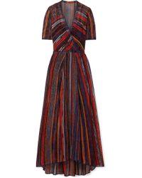 Missoni - Robe Longue En Mailles Crochetées Métallisées À Rayures - Lyst