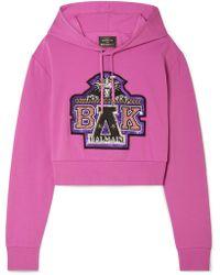 Balmain - + Beyoncé Coachella Cropped Embellished Cotton-blend Jersey Hooded Top - Lyst