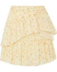 LoveShackFancy - Genevieve Tulle-trimmed Floral-print Cotton Mini Skirt - Lyst