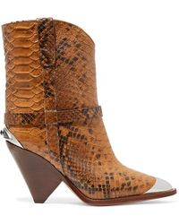 Isabel Marant - Lamsy Embellished Snake-effect Leather Ankle Boots - Lyst