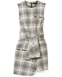 Alexander Wang - Leather-trimmed Bouclé-tweed Mini Dress - Lyst