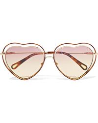 Chloé - Poppy Love Heart-shaped Acetate And Gold-tone Sunglasses - Lyst