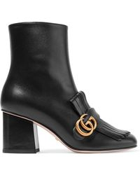 Gucci - Marmont Fringed Logo-embellished Leather Ankle Boots - Lyst