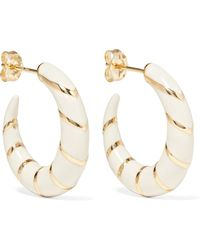 Alison Lou - Petite Stripes Enamelled 14-karat Gold Hoop Earrings - Lyst