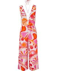 Emilio Pucci - Nigeria Embellished Printed Cotton And Silk-blend Jumpsuit - Lyst
