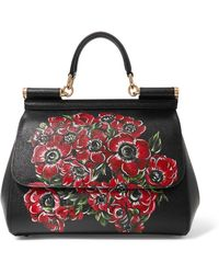 ea7a76813 Dolce   Gabbana - Sicily Painted Textured-leather Tote - Lyst