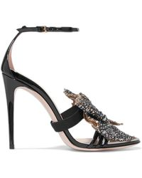 Gucci - Embellished Patent-leather Sandals - Lyst