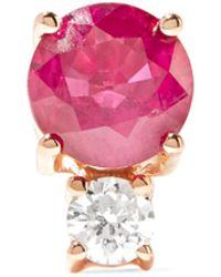 Jemma Wynne   18-karat Rose Gold, Ruby And Diamond Earring   Lyst