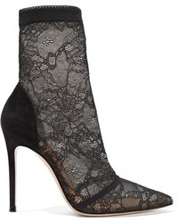 Gianvito Rossi - 105 Stretch-lace And Suede Sock Boots - Lyst