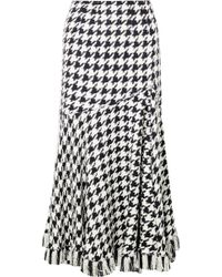 Oscar de la Renta - Fringed Houndstooth Wool-blend Tweed Midi Skirt - Lyst