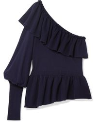 Ulla Johnson - Eden Ruffled One-shoulder Cotton And Cashmere-blend Jumper - Lyst