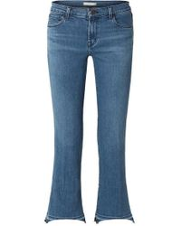 J Brand - Selena Cropped Mid-rise Bootcut Jeans - Lyst