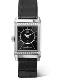 Jaeger-lecoultre - Reverso Classic Duetto 34.2mm Small Stainless Steel, Alligator And Diamond Watch - Lyst