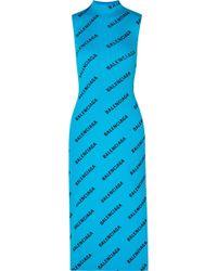 Balenciaga - Logo Print Ribbed Wrap Midi Dress - Lyst