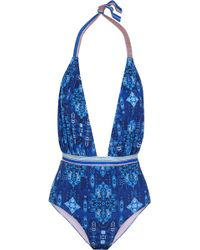 Matthew Williamson - Printed Halterneck Swimsuit - Lyst