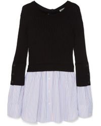 KENZO - Layered Ribbed Cotton-blend Knit And Cotton-poplin Jumper - Lyst