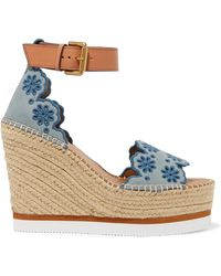 See By Chloé - Embroidered Suede And Leather Espadrille Wedge Sandals - Lyst