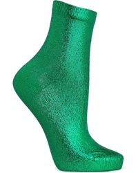 Maria La Rosa - Metallic Coated Silk-blend Socks - Lyst