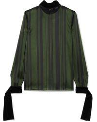 ADEAM - Velvet-trimmed Lace-paneled Striped Satin Blouse - Lyst