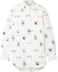 Burberry - Printed Cotton-blend Poplin Shirt - Lyst