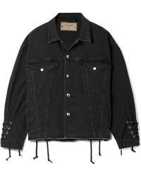 McQ - Oversized Lace-up Frayed Denim Jacket - Lyst