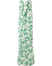 Caroline Constas - Kaia Knotted Printed Voile Maxi Dress - Lyst