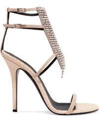 Giuseppe Zanotti - Alien Crystal-embellished Python-effect And Patent-leather Sandals - Lyst