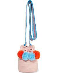 Sophie Anderson - Lulu Ii Mini Pompom-embellished Woven Bucket Bag - Lyst