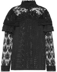 Anna Sui - Ruffled Embroidered Lace Blouse - Lyst