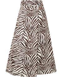 Gabriela Hearst - Linda Zebra-print Cotton-canvas Wrap Midi Skirt - Lyst