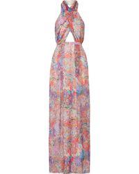 Matthew Williamson - Printed Silk-chiffon Halterneck Gown - Lyst