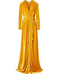 Bottega Veneta - Cutout Velvet Maxi Dress - Lyst