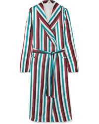 Asceno - Striped Silk Satin Robe - Lyst