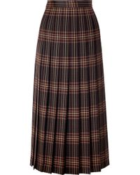Gucci - Pleated Checked Wool-twill Midi Skirt - Lyst