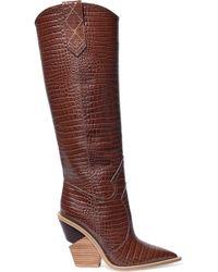 Fendi - Croc-effect Leather Knee Boots - Lyst
