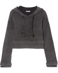 T By Alexander Wang - Hooded Cropped Cotton Sweater - Lyst