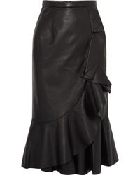 Michael Kors - Rumba Wrap-effect Ruffled Leather Skirt - Lyst
