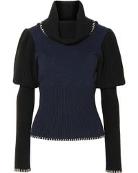 JW Anderson - Two-tone Ribbed-knit Turtleneck Jumper - Lyst