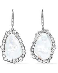 Kimberly Mcdonald - 18-karat Blackened White Gold, Freshwater Pearl And Diamond Earrings - Lyst