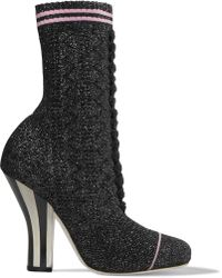Fendi - Metallic Stretch-knit Sock Boots - Lyst