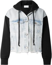 Current/Elliott | The Celyn Hooded Distressed Denim And Cotton-jersey Jacket | Lyst